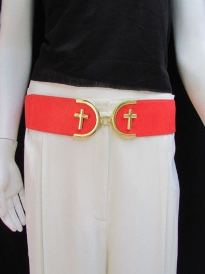 Alwaystyle4you Women High Waist Hip Coral Elastic Fashion Belt Gold Cross Buckle Image 10
