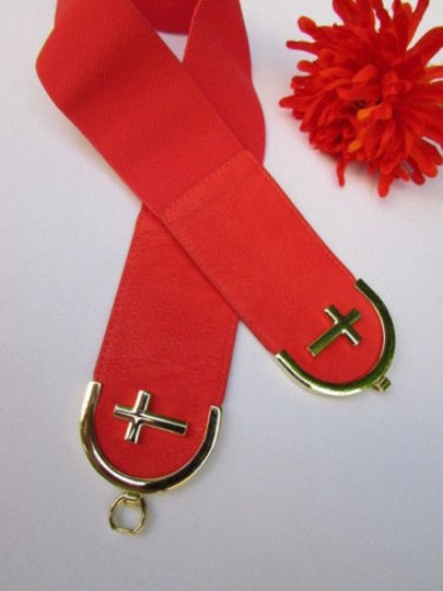 Alwaystyle4you Women High Waist Hip Coral Elastic Fashion Belt Gold Cross Buckle Image 2