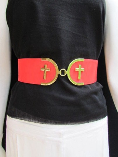 Alwaystyle4you Women High Waist Hip Coral Elastic Fashion Belt Gold Cross Buckle Image 3