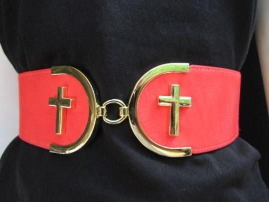 Alwaystyle4you Women High Waist Hip Coral Elastic Fashion Belt Gold Cross Buckle Image 4