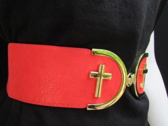Alwaystyle4you Women High Waist Hip Coral Elastic Fashion Belt Gold Cross Buckle Image 6