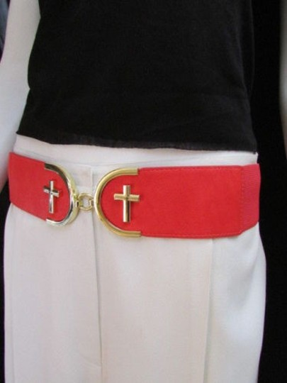 Alwaystyle4you Women High Waist Hip Coral Elastic Fashion Belt Gold Cross Buckle Image 7