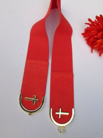 Alwaystyle4you Women High Waist Hip Coral Elastic Fashion Belt Gold Cross Buckle Image 9