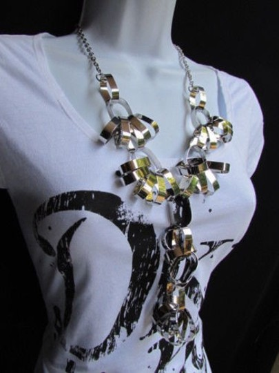 Other Women Long Silver Metal Big Rings Fashion Necklace Chains Hollywood 18 Drop