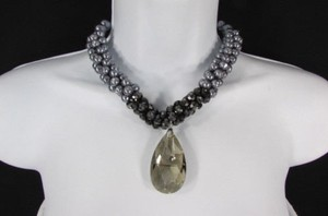 Women Fashion Chains Necklace Black Pewter Imitation Pearl Beads Big Crystal