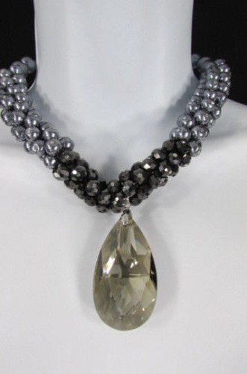 Other Women Fashion Chains Necklace Black Pewter Imitation Pearl Beads Big Crystal