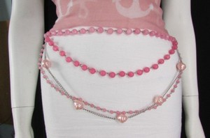 Alwaystyle4you Women Pink Lavender Beads Silver Metal Chains Fashion Belt 20-40