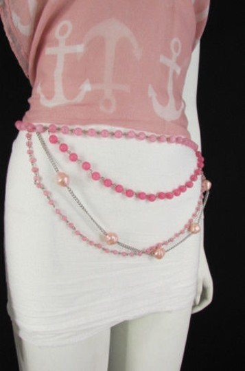 Alwaystyle4you Women Pink Lavender Beads Silver Metal Chains Fashion Belt 20-40 Image 3