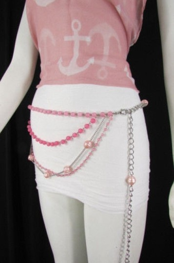 Alwaystyle4you Women Pink Lavender Beads Silver Metal Chains Fashion Belt 20-40 Image 7