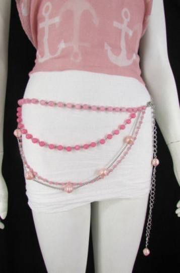 Other Women Pink Lavender Beads Silver Metal Chains Fashion Belt 20-40