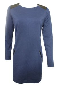 Banana Republic short dress Women Blue Long Sleeves Fashion Faux Leather on Tradesy