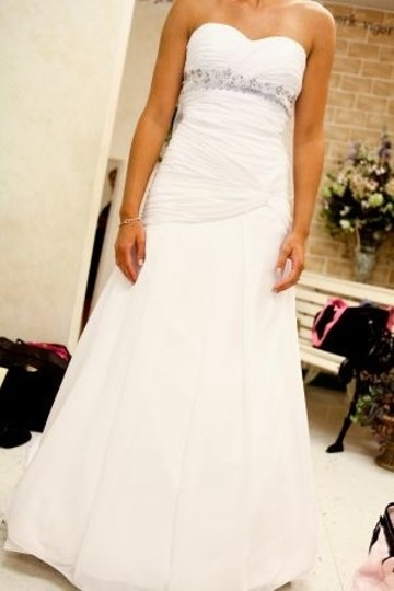 White Chiffon Custom Modern Wedding Dress Size 4 (S)