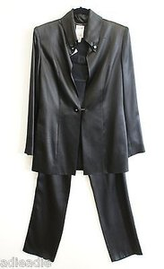 Céline Celine Paris Black Satin Formal Pant Suit Or