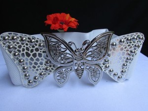Women Waist Hip White Elastic Fashion Belt Big Silver Butterfly 26-33