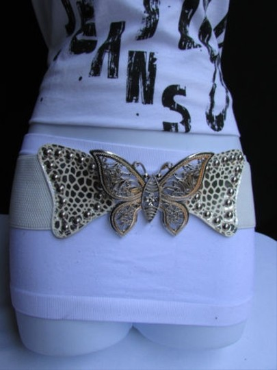 Alwaystyle4you Women Waist Hip White Elastic Fashion Belt Big Silver Butterfly 26-33 Image 2