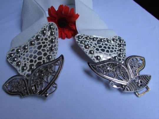 Other Women Waist Hip White Elastic Fashion Belt Big Silver Butterfly 26-33