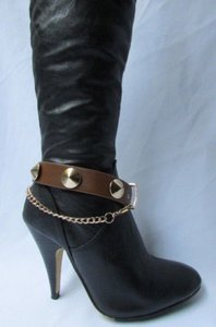 Other Gold Chain Faux Strap Western Punk Rock Brown Boots
