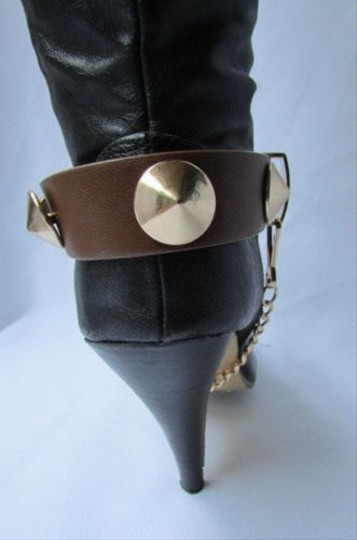 Other Gold Chain Faux Leather Strap Spikes Western Punk Rock Brown Boots