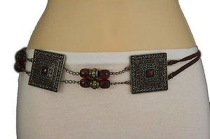 Alwaystyle4you Women Brown Beads Antique Gold Moroccan Style Chain Tie Belt
