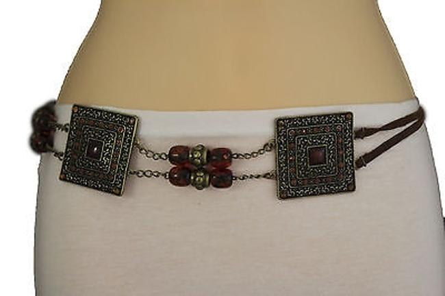 Women Brown Beads Antique Gold Moroccan Style Fashion Chain Tie Belt Women Brown Beads Antique Gold Moroccan Style Fashion Chain Tie Belt Image 1