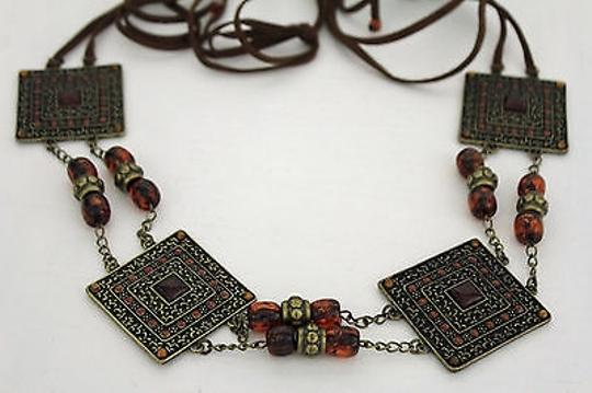 Alwaystyle4you Women Brown Beads Antique Gold Moroccan Style Chain Tie Belt Image 2