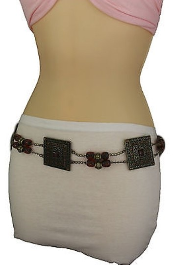 Alwaystyle4you Women Brown Beads Antique Gold Moroccan Style Chain Tie Belt Image 4
