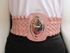 Women Waist Hip Pink Elastic Braided Wide Fashion Belt Buckle 32-38