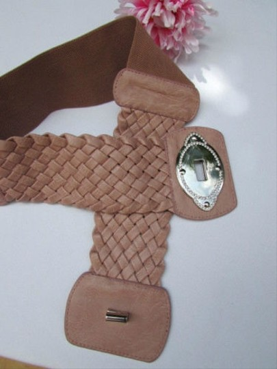 Other Women Waist Hip Pink Elastic Braided Wide Fashion Belt Buckle 32-38