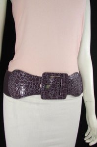 Other Women Purple Belt Hip High Waist Elastic Square Buckle Fashion Plus