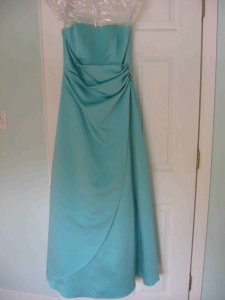 David's Bridal Blue Satin Gown With Side Drape & Brooch Style 8567 Dress