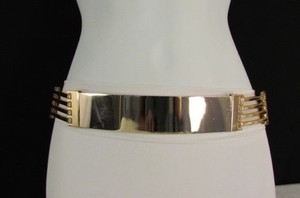 Women Side Cutouts Fashion Belt Gold Metal Plate Hip High Waist 28-34