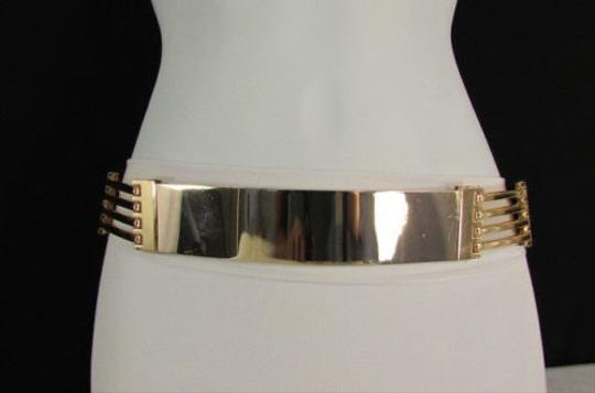 Other Women Side Cutouts Fashion Belt Gold Metal Plate Hip High Waist 28-34