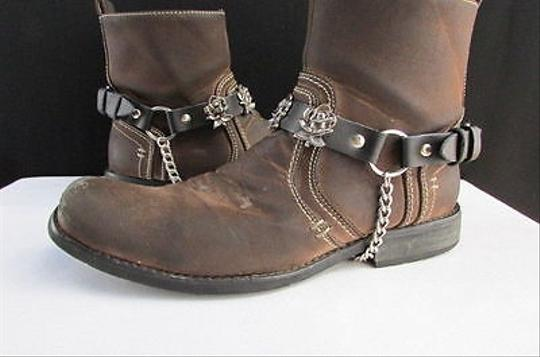 Other Men Women Western Silver Cowboy Rose Flower Chain Pair Strap Black Boots