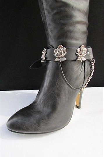 Alwaystyle4you Men Flower Pair Strap Black Boots Image 1