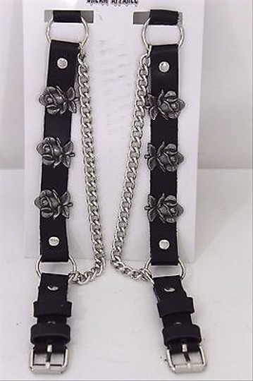 Alwaystyle4you Men Flower Pair Strap Black Boots Image 2