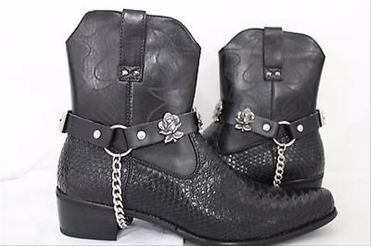 Alwaystyle4you Men Flower Pair Strap Black Boots Image 3