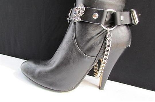 Alwaystyle4you Men Flower Pair Strap Black Boots Image 5