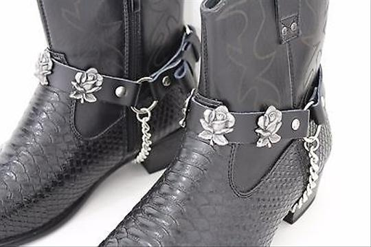 Alwaystyle4you Men Flower Pair Strap Black Boots Image 8