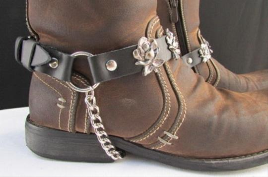 Other Biker Western Women Silver Chain Pair Leather Straps Rose Flowers Black Boots