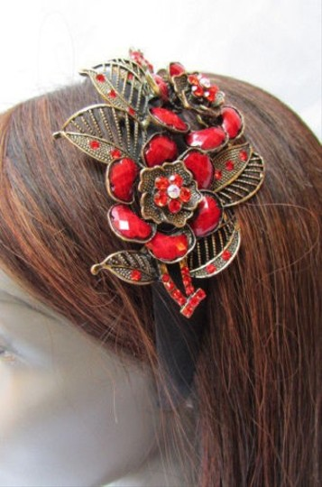 Other Women Fashion Headband Big Flowers Leaves Pendant Blue Red Gray Purple