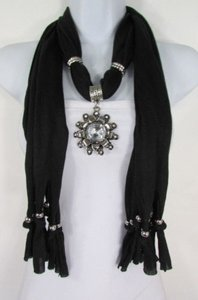Alwaystyle4you Women Soft Fabric Black Scarf Long Necklace Big Flower Sun Pendant