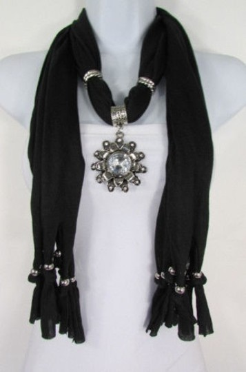 Alwaystyle4you Women Soft Fabric Black Scarf Long Necklace Big Flower Sun Pendant Image 0