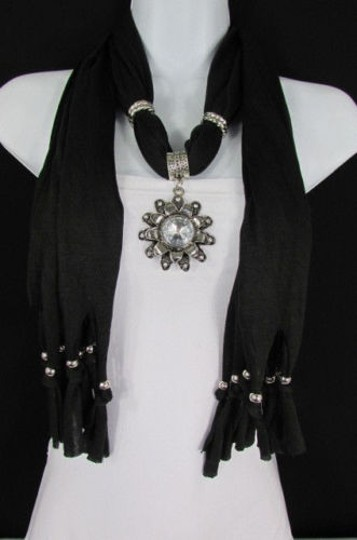 Alwaystyle4you Women Soft Fabric Black Scarf Long Necklace Big Flower Sun Pendant Image 1