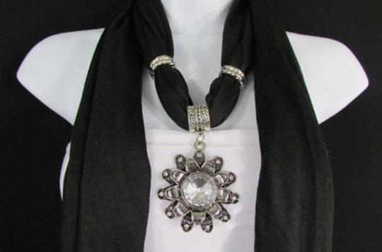 Alwaystyle4you Women Soft Fabric Black Scarf Long Necklace Big Flower Sun Pendant Image 10