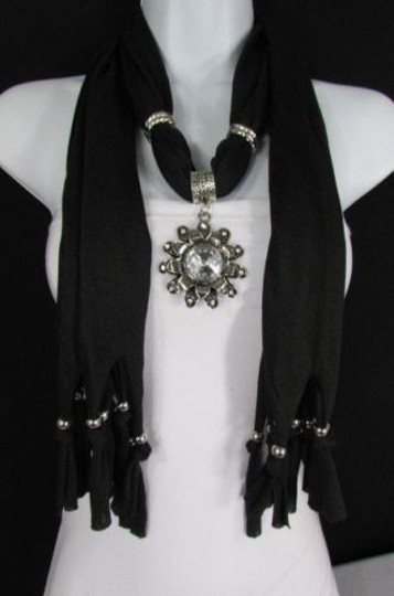 Alwaystyle4you Women Soft Fabric Black Scarf Long Necklace Big Flower Sun Pendant Image 11