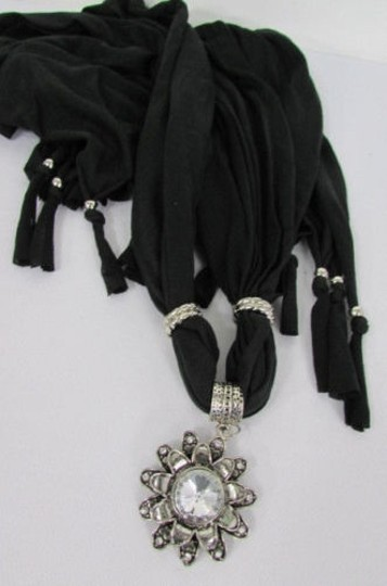 Alwaystyle4you Women Soft Fabric Black Scarf Long Necklace Big Flower Sun Pendant Image 2