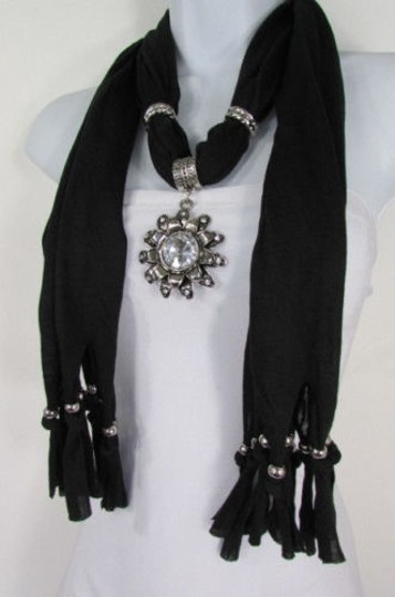 Alwaystyle4you Women Soft Fabric Black Scarf Long Necklace Big Flower Sun Pendant Image 3
