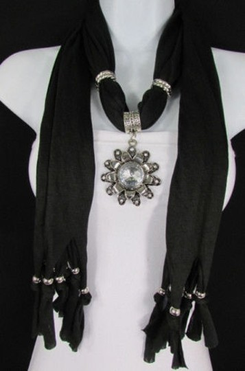 Alwaystyle4you Women Soft Fabric Black Scarf Long Necklace Big Flower Sun Pendant Image 4