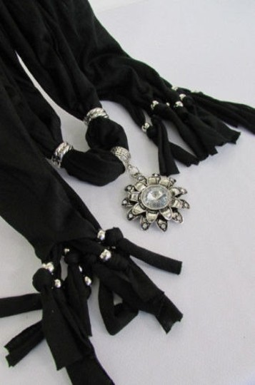 Alwaystyle4you Women Soft Fabric Black Scarf Long Necklace Big Flower Sun Pendant Image 5