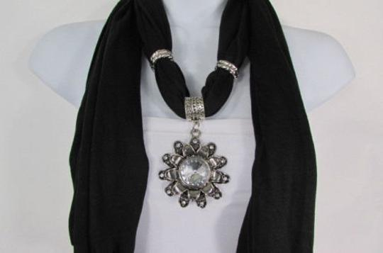 Alwaystyle4you Women Soft Fabric Black Scarf Long Necklace Big Flower Sun Pendant Image 6